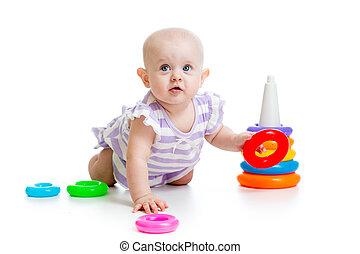 baby flicka, leka, med, leksak