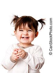 baby flicka, parvel skrattande, lycklig