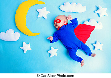 baby, fliegendes, superhero