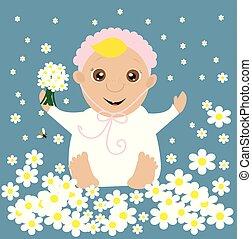 baby, flowers., begroetende kaart