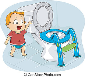 Baby Flushing Toilet - Illustration of a Baby Boy Flushing...