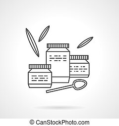 Baby food flat line vector icon