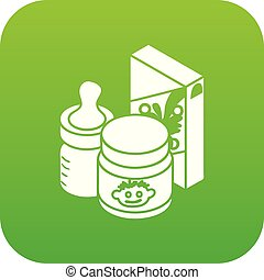 Baby food icon green vector