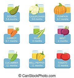 Baby Food Infographic Set Of Stickers