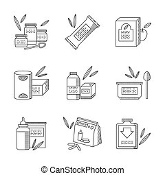 Baby food line vector icons set