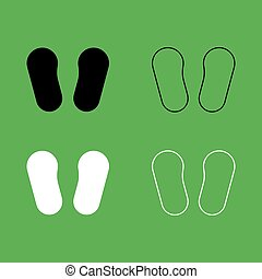 Baby footprint in footwear icon  Black and white color set