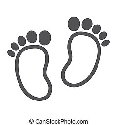 Baby footprint line icon, foot silhouette, vector graphics,...