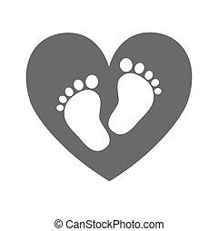 Baby footprints - vector illustration. - Simple baby ...