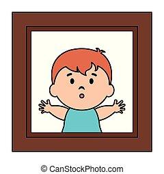 baby, fotokader, afbeelding