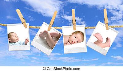 baby, fotos, hängender , gegen, a, blaues, trüber himmel