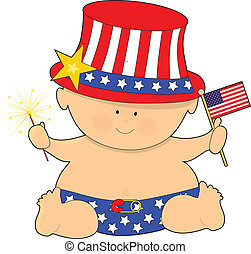 A cute baby holding the American Flag on the Fourth of JUly
