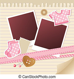 baby frame for photos with scrapbook elements