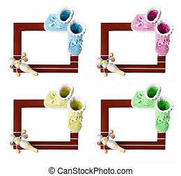 Baby frame - Frame with baby's bootee and rattle isolated on...