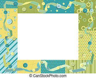 Baby frame or card with ribbon and buttons. Vector...