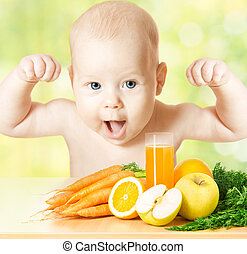 Baby fresh fruit meal and juice glass. Concept: healthy ...