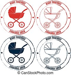 Baby friendly stamps retro