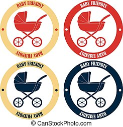 Baby friendly stickers in retro colors