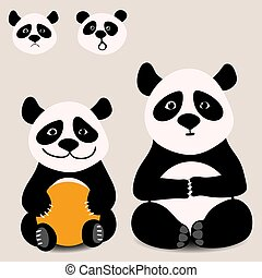 Baby funny cartoon bear panda sitting with various emotions