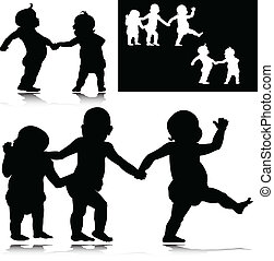 baby funny vector silhouettes