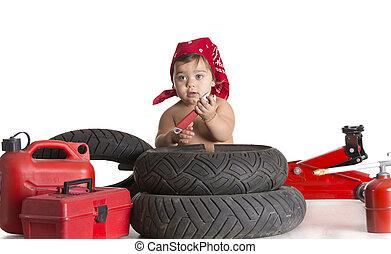 baby, garage, witte