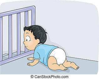 Baby Gate - Illustration of a Baby Boy Being Prevented by a...