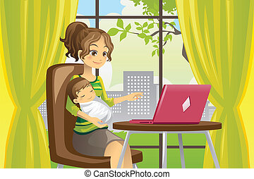 baby, gebruikende laptop, moeder