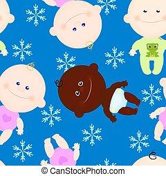 baby, geitje, winter, achtergrond, seamless