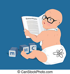 Cute baby in a diaper and glasses reading a book on quantum physics, alphabet cubes lying around