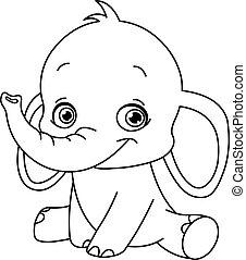 baby, geschetste, elefant