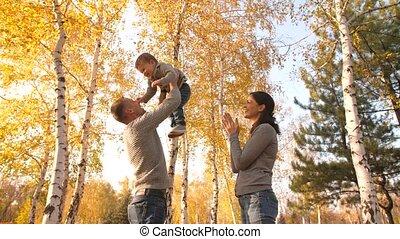 baby, gezin, park, herfst
