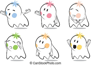 Baby ghost cartoon - A vector cartoon featuring six poses of...