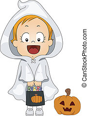 Baby Ghost - Illustration of a Baby Dressed as a Ghost