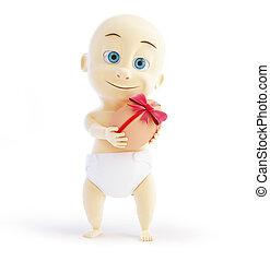 baby gift egg 3d Illustrations on a white background