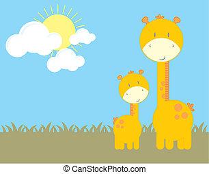 baby giraff, och, mamma