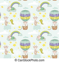 Baby Giraffe Background. Seamless Pattern. Vector Background.