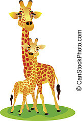 baby giraffe, moeder