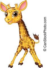 baby giraffe, spotprent, vrijstaand