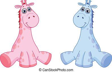 baby, giraffes