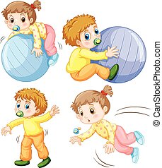 Baby girl and boy in different actions illustration