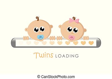 baby girl and boy twins loading bar with hearts