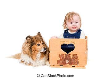 Baby girl and dog