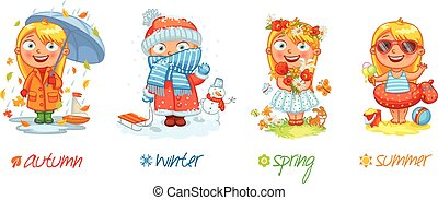 Baby girl and the four seasons. Vector illustration. Isolated on white background. Set