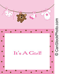 Baby Girl Announcement - Cute pink baby girl announcement