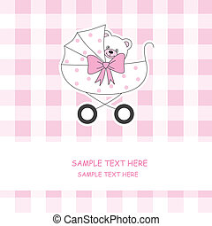Baby carriage with a teddy bear - Baby girl arrival...
