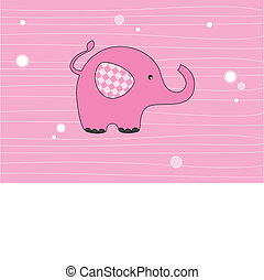 Elephant pink - Baby girl arrival announcement card....