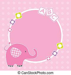 Pink elephant framework - Baby girl arrival announcement. ...