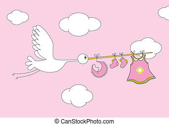 stork with baby girl clothes