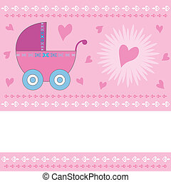 Baby girl arrival greeting card with pink stroller and harts with copy space. Also available as a Vector in Adobe illustrator EPS format. The vector version can be scaled to any size without loss of quality.