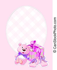 Baby girl arrival card - Illustration of gifts for cutest...