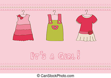 Baby Girl Arrival Card - for design and scrapbook
